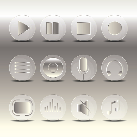 multimedia icons: Media player control button icon set. Vector illustration