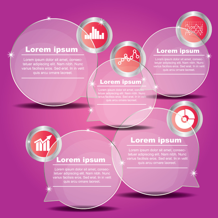 reflection: Transparent balloon Vector banner with icon for presentation over pink background