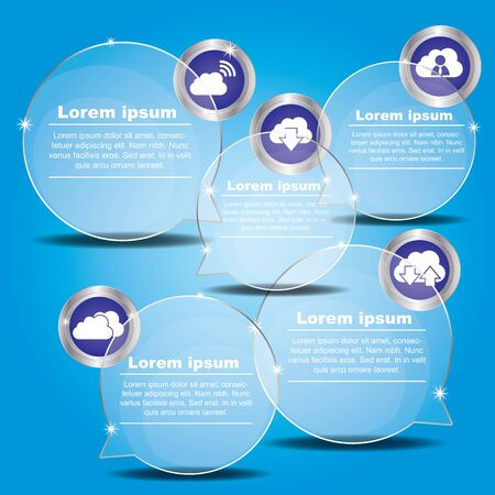 reflection: Transparent balloon Vector banner with icon for presentation with blue background