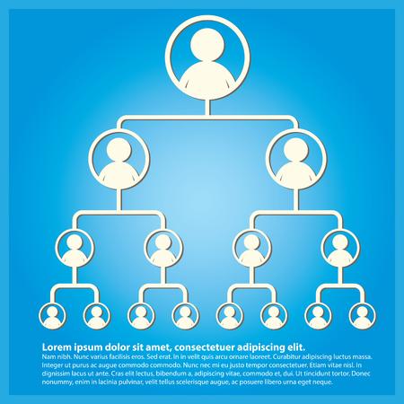 Business Baumhierarchie Struktur mit blauem Hintergrund Standard-Bild - 87471037