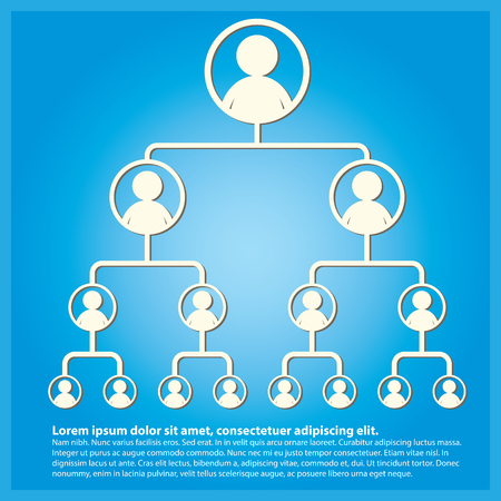 Business tree hierarchy structure with blue background