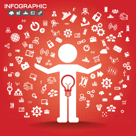 mobile marketing: Man with Business Icons Pattern. Vector Illustration. Business Idea Creative Concept. Idea Abstract Infographics Template.