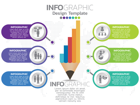 Infographic template design with 6 color options.