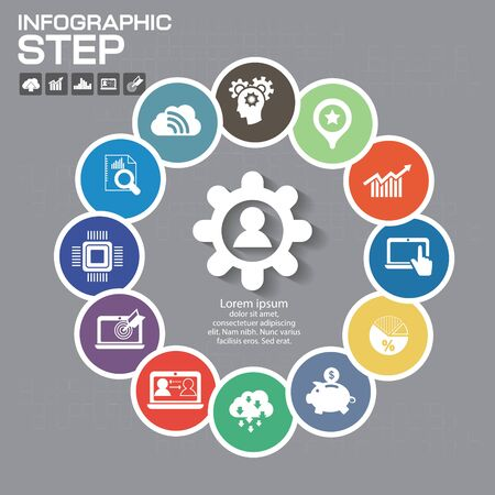 Infographic Business Concept - Creative Idea Illustration - vector lamp with icons for presentation, booklet, website etc. Ilustrace