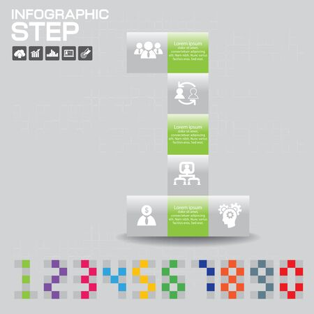 Infographic Business Concept - Creative Idea of Number consisted with color on gray background.
