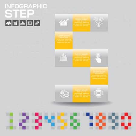 Infographic of Number consisted with color on gray background. Reklamní fotografie - 146382099