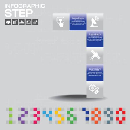 Infographic of Number consisted with color on gray background. Reklamní fotografie - 146382364