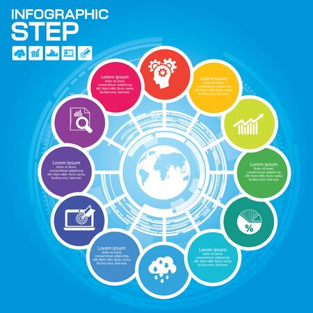 Infographic Business Concept - Creative Idea with icons for presentation, booklet, website etc.