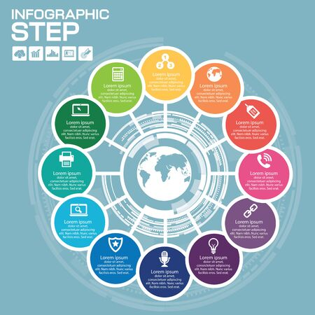Infographic Business Concept - Creative Idea with icons for presentation, booklet, website etc. Stok Fotoğraf - 147575251