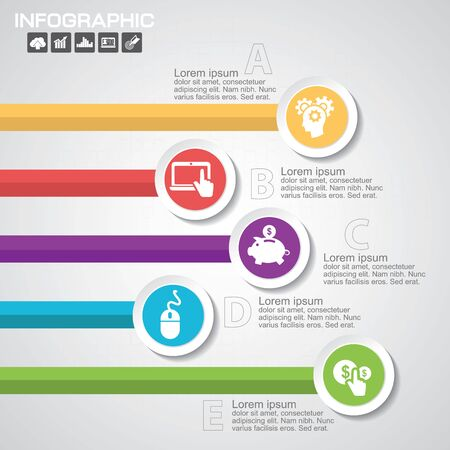 Infographic Business Concept - Creative Idea Illustration - vector lamp with icons for presentation, booklet, website etc. Stok Fotoğraf - 147576084