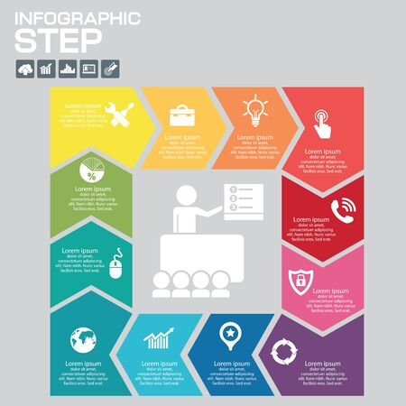 Timeline Infographic design templates . With paper tags. Idea to display information, ranking and statistics with orginal and modern style. Çizim