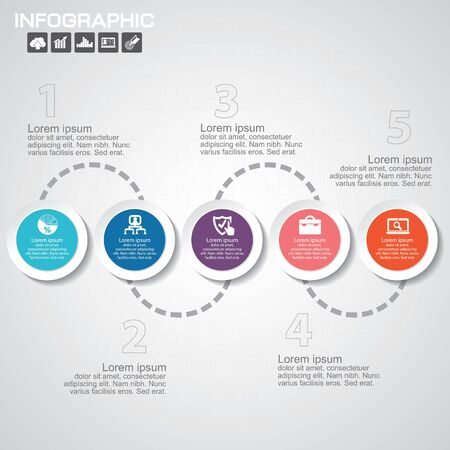Timeline infographics design template with 5 options, process diagram, vector eps10 illustration Иллюстрация
