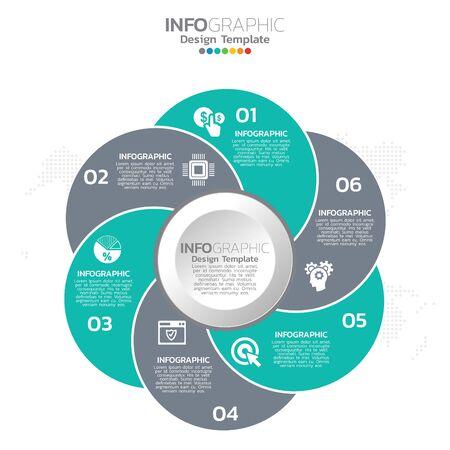 Conception de modèle d'infographie avec 6 options de couleur.