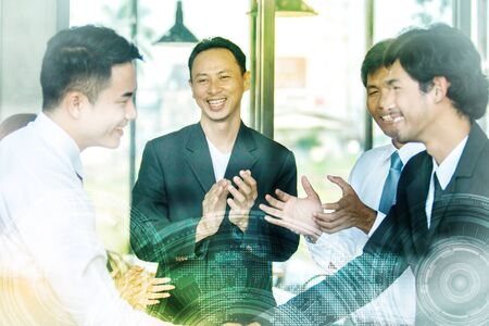 Teamwork Shake Hands Partnership Concept.team corporate discussion at workplace Stok Fotoğraf
