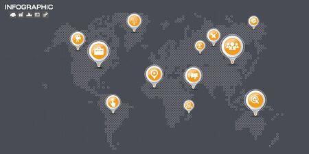 Vector World Map with Markers Ilustração