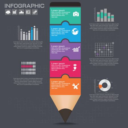 Business Infographic template layout with illustration of creative colorful pencil.