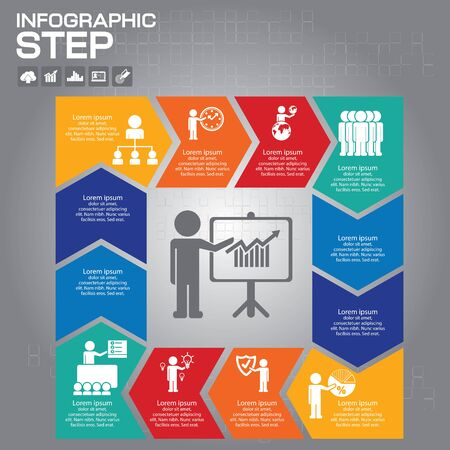 Infographics template for business, education, web design, banners, brochures, flyers. Vector illustration. Set of labels with four steps