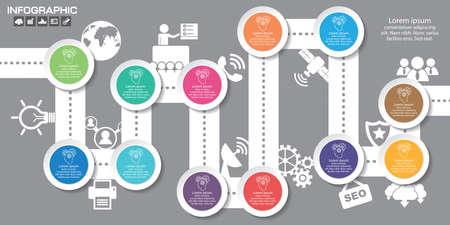 Timeline infographics design template with 12 options, process diagram, vector eps10 illustration Çizim