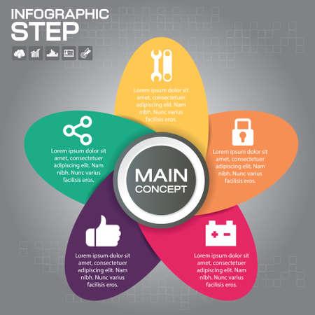5 Steps Infographic Design Elements for Your Business Vector Illustration. Çizim