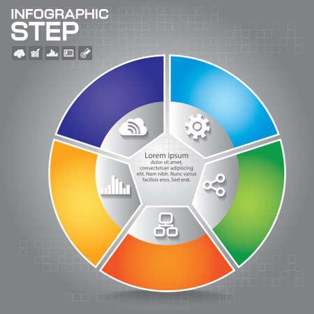 Flat business presentation vector slide template with venn diagram Çizim