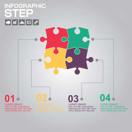 Infographic design template can be used for workflow layout, diagram, number options, web design. Infographic business concept with 4 options, parts, steps or processes. Stock Illustratie