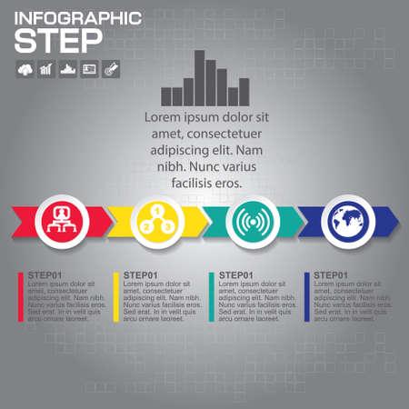 Timeline infographics design template with 5 options, process diagram, vector eps10 illustration Çizim