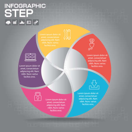 Vector circle business concepts with icons / can use for infographic/loop business report or plan / modern template / education template / business brochure / system diagram