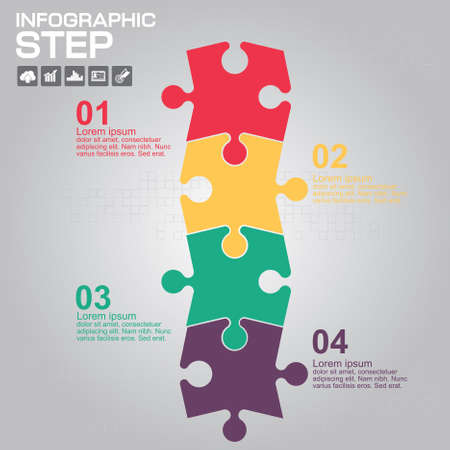 Colorful puzzle 4 details. Business component. The image can be used for your business, presentations, projects, promotion