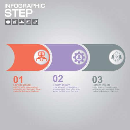 3 Steps Infographic Design Elements for Your Business Vector Illustration.