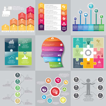 Business concept options, parts, steps or processes. Can be used for workflow layout, diagram, number options, web design. Vector Illustration