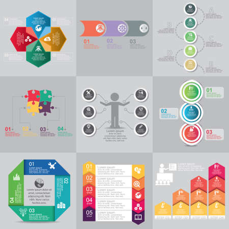 Business concept options, parts, steps or processes. Can be used for workflow layout, diagram, number options, web design.