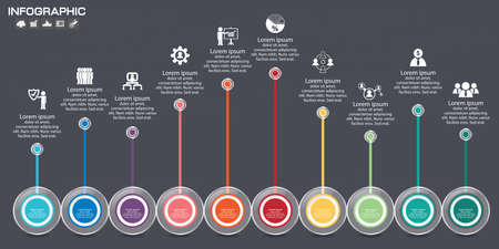 Timeline infographics design template with 7 options, process diagram, vector eps10 illustration