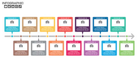 Timeline Infographic chart with many color. Vector design template. 14 options. Ilustrace
