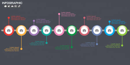 Timeline Infographic chart with many color. Vector design template. 15 options.