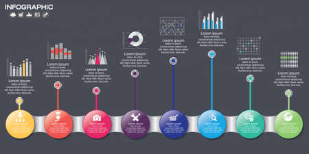 Timeline Infographic chart with many color. Vector design template.