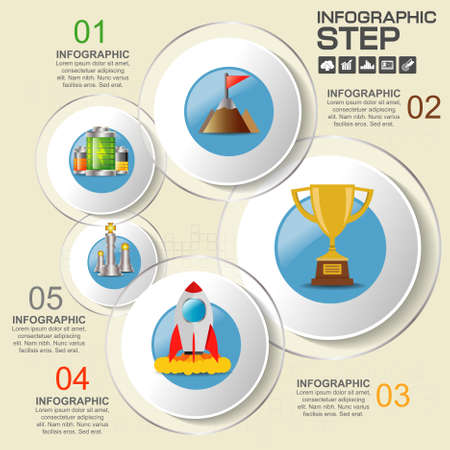 Business Infographic With number and Information Text Design. Ilustrace