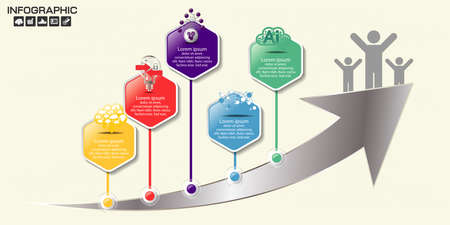 Timeline Arrow Infographics template 5 options. Isolated design elements. Vector illustration.