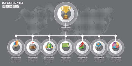 Timeliene Infographic design template 9 steps with place for your data. Vector illustration.