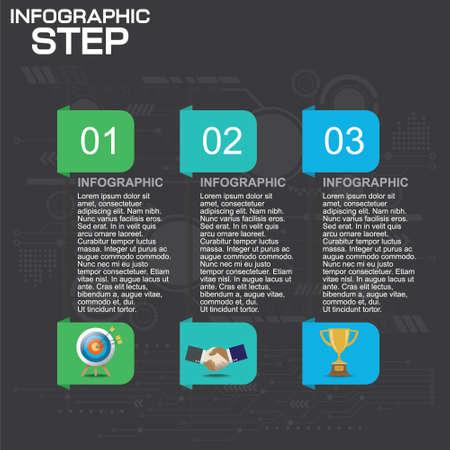 4 Steps Infographic Design Elements for Your Business Vector Illustration.
