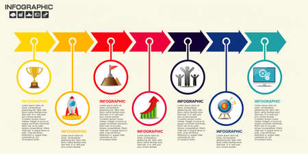 Infographic arrow design template 9 steps with place for your data. Vector illustration. Ilustrace
