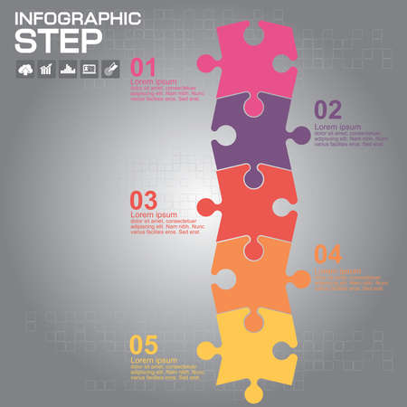 Colorful puzzle 5 details. Business component. The image can be used for your business, presentations, projects, promotion