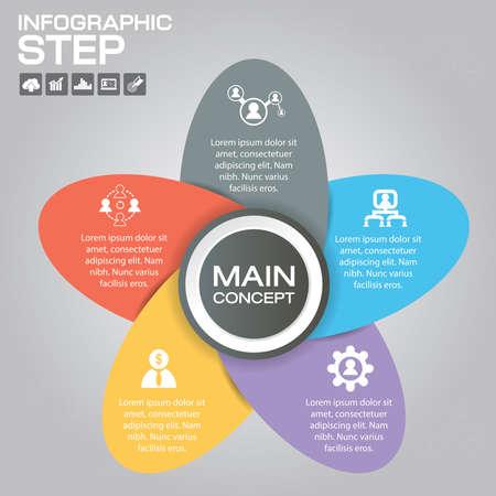 5 Steps Infographic Design Elements for Your Business Vector Illustration. Ilustrace