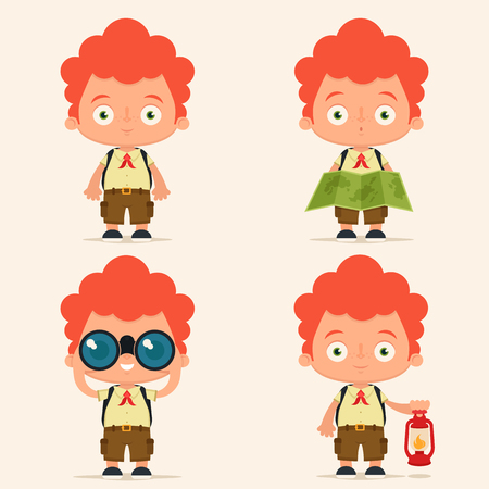 four objects: Four Cute Cartoon Scouts Holding Different Objects. Colorful Vector Set