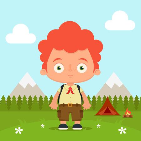montañas caricatura: Scout dibujos animados lindo. Bosques y montañas de fondo. Colorida ilustración vectorial