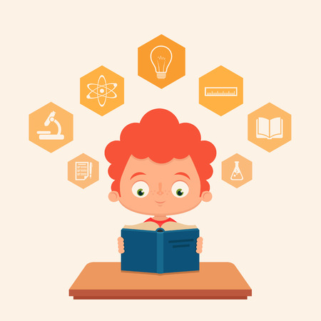 read: Cute Cartoon Kid Reading a Book. Educational Icons Around His Head. Colorful Vector Set