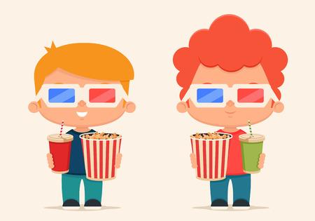 gaseosas: Los niños lindos de la historieta con palomitas y refresco listo para ver la película. Conjunto de vectores