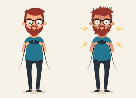 cute guy: Bad Electrician. Funny Cartoon Illustration Illustration