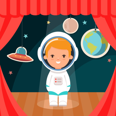 stage costume: Cute Cartoon Kid in Cosmonaut Costume Standing on the Stage. Stars and Planets on Background. Vector Illustration Illustration
