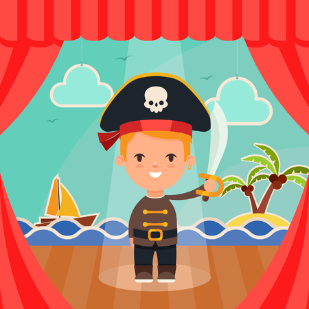 stage costume: Cute Cartoon Kid in Pirate Costume Standing on the Stage. Sea, Ship and Island on Background. Vector Illustration