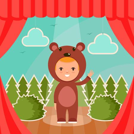 Kid de dibujos animados lindo en traje de oso de pie en el escenario. Bosque verde en el fondo. Ilustración del vector